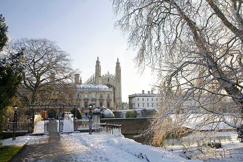 Clare College and King's College Chapel in winter